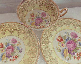 Vintage Imperial Yellow  Floral Set Trio, English Bone China for One. Perfect for a Tea Party, afternoon tea
