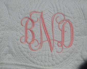 Embroidered White Baby Quilt -  Personalized / Monogrammed / Embroidered Baby Blanket