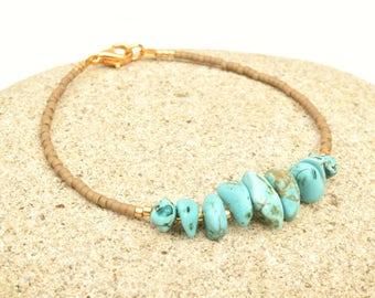 Turquoise bracelet, Miyuki bracelet, Turquoise jewelry, Boho bracelet, Raw stone bracelet, Minimalist jewelry, Gift for her, Beaded bracelet