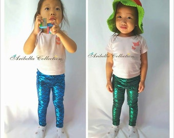 Mermaid Leggings Girls Toddler 40% SPRING SALE Baby Little Fish Scale Pants Birthday Gift Party Outfit Legging Present Costume Photo Shoot