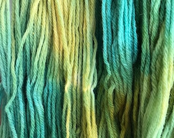 "Green Wool Yarn - Worsted Weight 4 ply - Hand dyed Variegated - ""Sunny Day Mystery Sheep"""