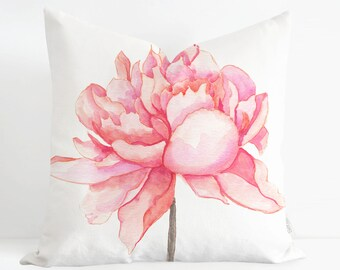 Watercolor Pink Peony Pillow Cover, Floral Pillow Cover, Watercolor Throw Pillow Cover, Designer Pillow, Handmade Pillow case Made in Canada
