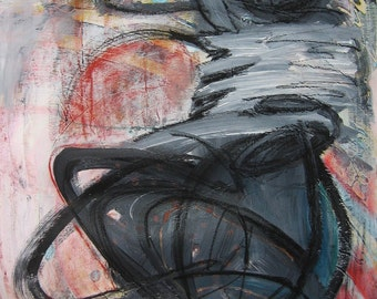 "Darkgrey pink Abstract 30""x24""Canvas Painting Large original Art figurative painting grey pink orange art modern figure art by sj.kim"