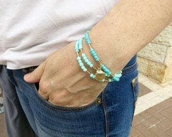 Summer Bracelet - 3 strand beaded bracelet - Simple Bracelet in Gold and Blue - Delicate beaded bracelet - Charm bracelet - Gift for Her