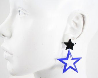 Vintage Black and Blue Oversize Hanging / Drop / Dangle Double Star Retro Pierced Earrings