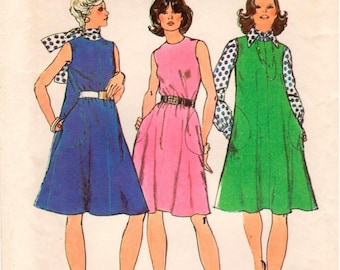 Vintage Simplicity Pattern 6205 - Misses Sleeveless Dress or Jumper, Long-Sleeve Blouse & Bias Scarf - Size 14