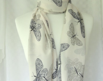 Butterflies print scarf, Butterfly print, scarf, Butterfly scarf, Scarf for her, Lightweight scarf, Fashion scarf, Shawl