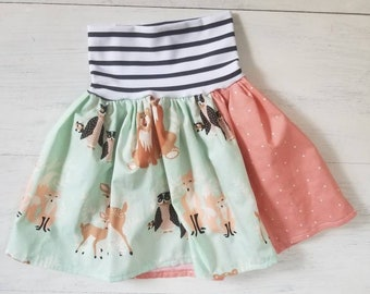 Toddler Girls High Waisted Woodland Animal Skirt, Toddler Girls Skirt, Patchwork Girls Skirt