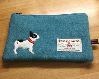 French bulldog teal Harris Tweed makeup bag, zipped makeup case, frenchie lover, dog lover gift, french bulldog lover