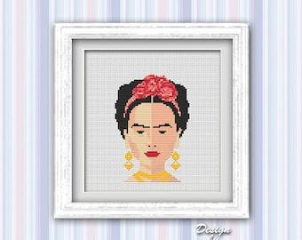Frida Cross Stitch Pattern Modern Embroidery Frida Cross Stitch Counted Cross Stitch Feminist Modern Art Mexican Download PDF
