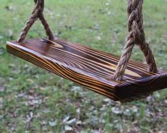 Wooden Charred Pine Tree Swing, Double Rope