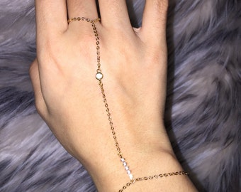 Dainty Gold Hand Chain Bracelet w/ Crystal