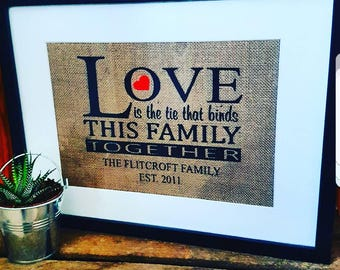 Love is the tie that binds this family together, hessian print, A4 hessian/burlap print, home gift house warming gift,rustic, family gift