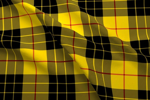 Yellow and Black Plaid Fabric - Macleod Plaid By Peacoquettedesigns ...