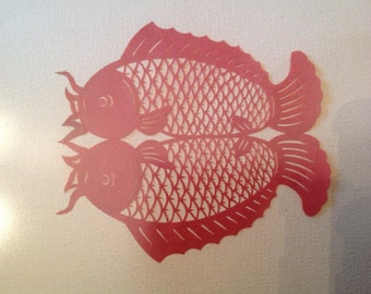 vintage framed and matted German scherenschnitte paper cutting red fish