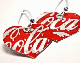 Recycled Jewelry Coca Cola Heart Earrings