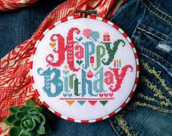 Happy Birthday Cross Stitch Pattern, Cross Stitch Quote, Birthday Gifts For Mom, Birthday Gift Ideas, Cross Stitch Charts, Embroidery Hoop