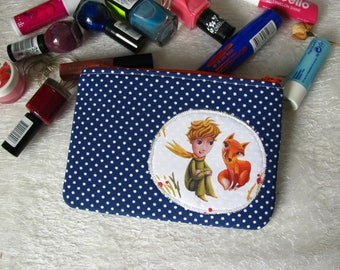 Zippered pouch with Little Prince, makeup bag, phone case, purse