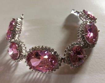 N0IR Gorgeous Huge Pink Glass Cabochon & Rhinestone Bracelet, Signed