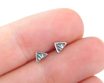Silver triangle studs | sterling post earrings | small silver earrings | tiny triangle earrings | Geometric earrings | tiny posts