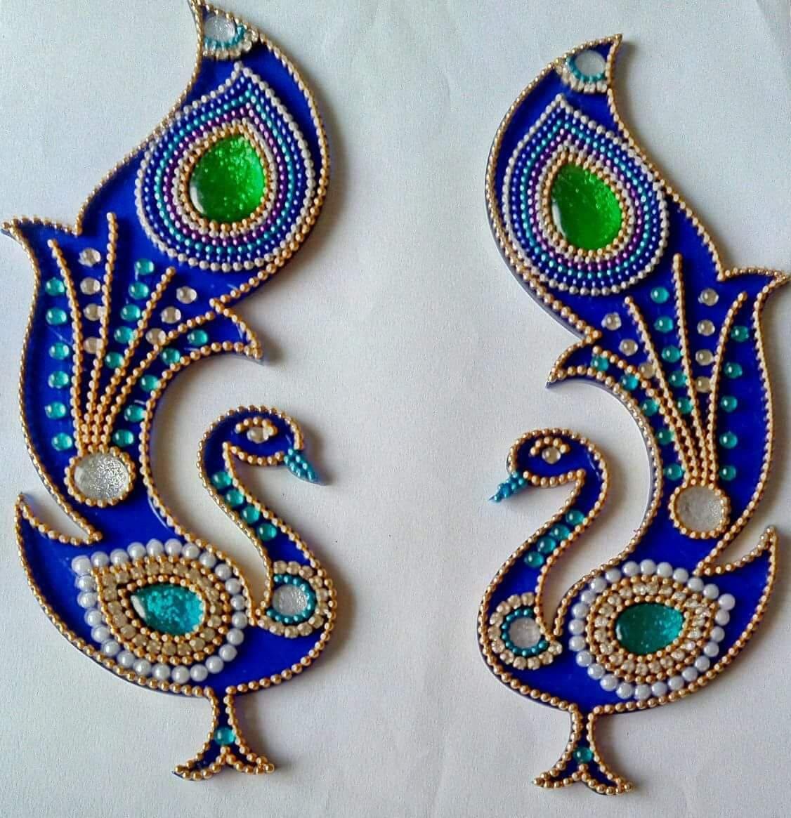 Wedding Kolam Images: Beautiful Kundan Rangoli Floor Art Peacock Design Wedding