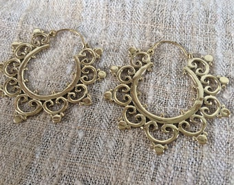 Tribal Brass Earrings ~ Brass Hoops ~ Ethnic Boho Jewelry.