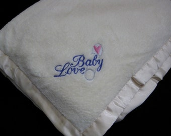 Embroidered Baby Love Off-White Blanket with Heart Safety Pin - Ready to Ship