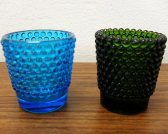 Hobnail Turquoise And Dark Green Glass Peg Votive Cup Candle Holders Set Of 2