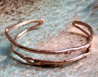 Organic Goldfilled cuff, dainty gold cuff, skinny gold cuff, open bracelet, dainty cuff, layering bracelet, simple cuff - Someway B3025