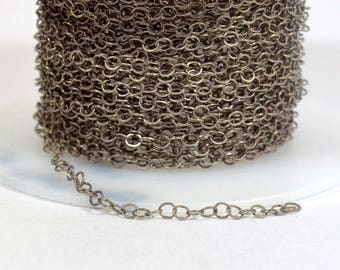 Very Fine Circle Chain - Antique Silver - CH160 - Choose Your Length