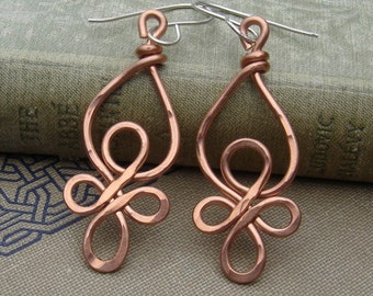Celtic Loops Copper Wire Earrings, Celtic Knot Jewelry,  Copper Dangle Earrings, Handmade Gift for Her Celtic Earrings, Women Copper Jewelry