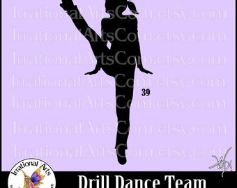 Drill Dance Team Silhouettes pose 39 - with 1 EPS & SVG Vinyl Ready files and 1 PNG Digital Files and Small Commercial License