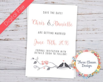 Love Birds Printable Save the Date