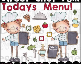 Sweet Chef Folk Clipart Collection- Immediate Download