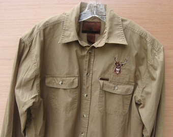 Vintage Men's Deer Hunting Shirt, XL Button Up Shirt, Gift for Husband, Hunter Sportsman, Camping, Men's Clothing