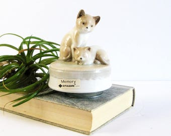 Working Vintage Otagiri Music Box - Cats Musical Memory Song - Turning Ceramic Cat Figurine - Sleeping Cat - Made in Japan - Cat Home Decor