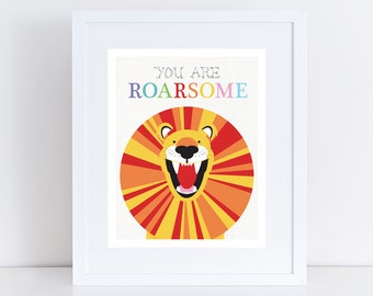 roaring lion print nursery art - illustration nursery wall art kids wall art decor fun orange yellow, inspriational awesome you are roarsome