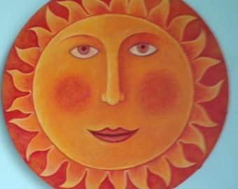 Round canvas painting of the sun.