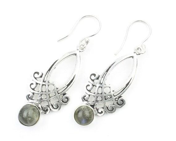 Mallawi Labradorite Earrings, Gemstone Jewelry, Festival Earrings, Gypsy Earrings, Ethnic Earrings