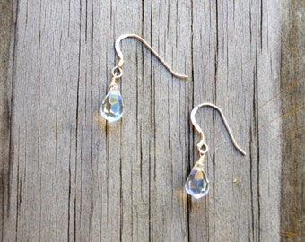 Teardrop Clear Iridescent Crystal Earrings with Silver Earring Wires