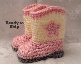 Baby Cowboy Boots Ready to Ship Pink and Off White Crochet baby cowgirl booties 0 to 3 month boots Cowboy booties Baby Girl