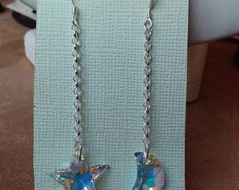 Moon and Star Crystal Earrings in Sterling Silver
