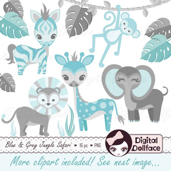 Items similar to Cute Jungle Animals Clip Art Printable Blue