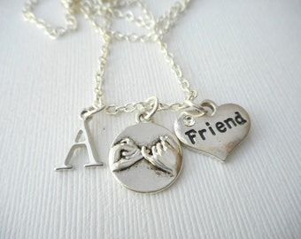 Pinky Promise, Friend- Initial Necklace/ Pinky Swear, loved one, teen, Gift for her, Birthday Gift, bff jewelry, Personalized friend