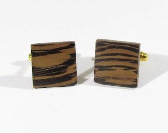 cufflinks zebrano wood handcrafted