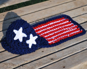 Crochet Pattern - Stars and Stripes  - Cuddle Critter Cape Set  - Newborn Photography Prop