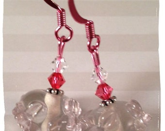 Pretty in Pinks ColorSparx Earrings--Lampworked Glass Beads, Swarovski Crystals and Shiny Pink Metal