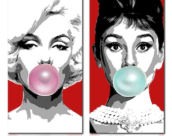 Painting Marilyn Monroe - Audrey Hepburn pop art hand painted on Canvas. Acrylic painting Wall decor Wall art gift