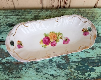 Antique Oblong China Tray With A Transferware Rose Pattern - Vintage Floral Dish, Home Decor, Dresser Dish, Porcelian Dish, Antique China