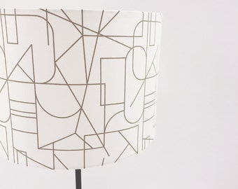 Grey and White Geometric Pattern Lampshade